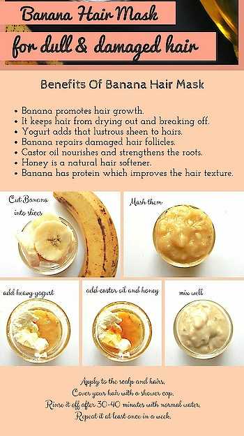 Sunrays, pollution, heat styling tools makes your hair dull, dry and damaged.  No more worries, here is the solution to your problem. This banana hair mask will nourish your hair, replenish their shine, making them looking healthy and full of life.  Get, set and DIY !!!!! #beautytips #healthyhair #diy #homeremediesforhair #shineon
