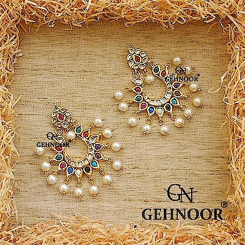 Navratna Chandbalis! 💎😍 . Semi Precious Navratna Stones Studded with Kundan & adorned with Fine White Pearls! These Stunners are a must have this Festive Season! 💟☺ . www.gehnoor.com 💻 . FREE SHIPPING anywhere in India 🚙 . Cash On Delivery Available across India 💲 . WhatsApp at 07290853733 📱 . www.facebook.com/Gehnoor/ . gehnoor@gmail.com 📝 . #bride #goldjewellery #kundannecklace #traditionaljewellery #happy #wedding #celebritywedding #destinationwedding #indianbride #photooftheday #instabride #bridalwear #bridaljewellery #tags #like #likeforlike #followfollow #followus #followback #gehnoor #earrings #chandbali #navratna #pearl #kundan #multicolor