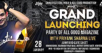 All good production & Swag festival India presents Grand launch party of  All good magazine #biggboss11  & #splitsvilla & #roadiesxtreme  #priyanksharma live  Date  28/1/18 Timing  2pm to 7pm  venue #junkyardcafe  #saket    Event link https://www.facebook.com/events/772825349569064/?ti=cl  For more queries  Contact / whatsapp  9654187179  #biggboss #biggboss11 #splitsvilla #splitsvilla10 #roadiesxtreme #swagfestivalindia #ronnmalhotra1988 #ronnmalhotra23 #delhibloggergirl #delhiblog #delhi-ncr #delhimakeupartist #delhibride #delhi-ncr #delhinightlife #delhi university #delhi event #delhiheights
