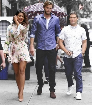 Too much hotness in one frame...oh and Adam Devine is there too 😘 #SuperJealousOfPC #PriyankaChopra #OnSet #LiamHemsworth #AdamDevine #celebrityfashion