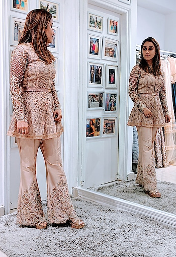 #happyfittings #happyclients #happycustomers at #NityaBajaj  Grabbing our embellished Pakistani pant set for her pre-wedding brunch, Sheetal looks elegant and stylish in #meshbynityabajaj  Grab our festive favourite collection at #NityaBajaj  Shop us at www.nityabajaj.com #trials #shahpurjat #indiandesigner #beige #pantset #labelnityabajaj #mesh #studionityabajaj