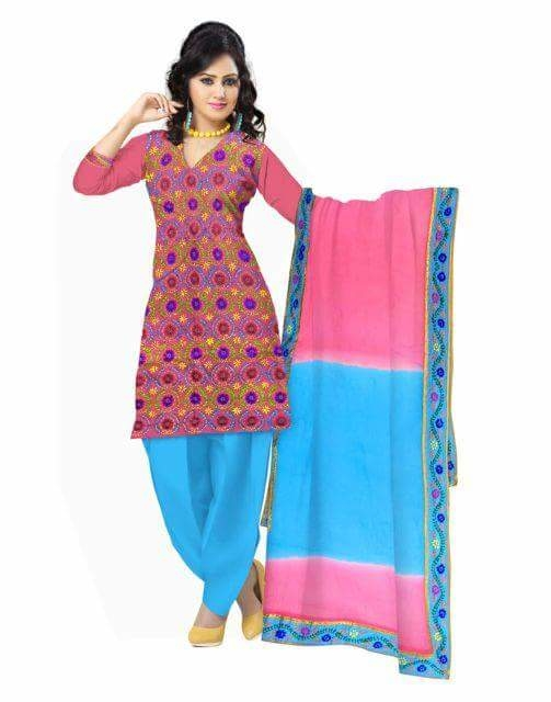 Gorgeous Champa work  Handembroidered Phulkari Dress Material from GiftPiper. Get quality ethnic products and great service with GiftPiper.com. Pay COD, 15 day returns (Resellers are welcome- WhatsApp us on 9902488133) 15% Discount on Orders Above Rs 1000 with voucher code-FACEBOOK. Details at http://www.giftpiper.com/product/handembroidered-salwar-suit-with-champa-jaal-pinkturquoise #dressmaterial #salwarkameez #salwarsuit #salwarsuitonline