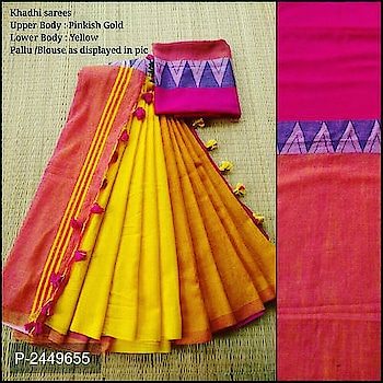 Best quality Multicoloured Handloom Khadi Cotton Madhyamoni Sarees with Blouse piece Special offers Price ₹820 Colours are available