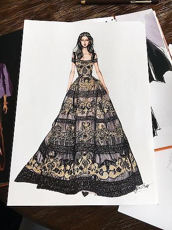 Designer #designerwearindia #fashionlover #dress #designer-wear #illustration #sketchinglove #drawing