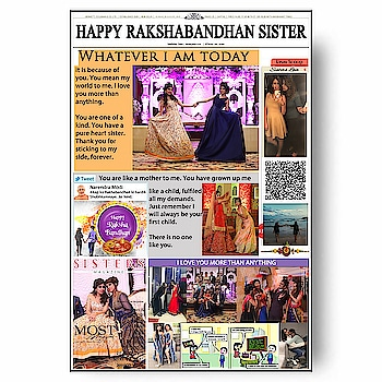 RAKSHABANDHAN Special😘🎁 Personalized Newspaper With QR CODE HIDDEN SURPRISE MESSAGE ❣️❣️❣️❣️ Need 10 to 13 Pics and Some Text Message Direct Message For Order @photo_art_store @gifts_shopping_time  @gift_online_store  @personalized_magazine Special🎁🎁🎁🎁🎁😘 😍SPECIAL PERSON😍 Keep Ordering😍😍 Birthday Couple Friendship Family Anniversary 😍😍 😍 DM for Order . #surprises#specialgift#happybirthday#birthdaygift #birthdaygifts#customisedgifts#uniquegifts #giftsforher#giftsforhim#giftsforcouple #personalisedcards#greetingcards#mosaicstories#colorful#memories#moments#friends#birthday#anniversary #weddings#gifts#customized#personalized  #photo_art_store #gifts_shopping_time  #gift_online_store  #personalized_magazine
