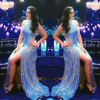 Sonakshi in Nachbaliye 8 promo. She is dipped in glittery outfit designed by Manish Malhotra, styled by-Mohit Rai,hair and makeup by- Niluu and Meghna Butani.