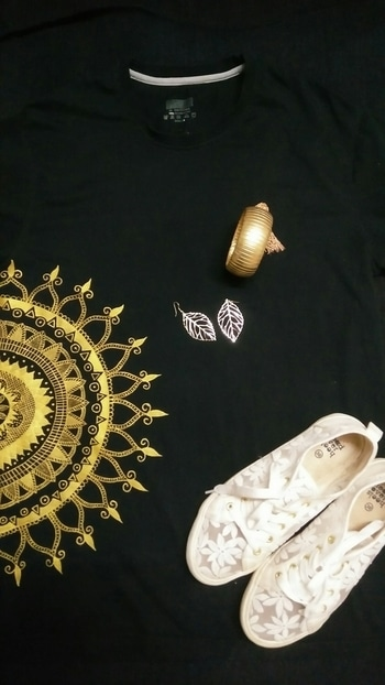 Wanna dress up for party but not too flashy, feminine all the time, pair this golden mandala art tee wid black Jeggings  and white snicker, golden bangle for feminine touch yet sporty,wear single earring or juz go wid no earrings.