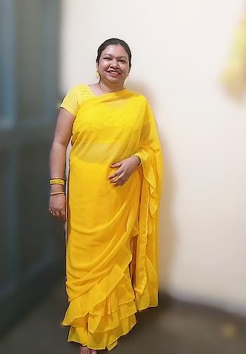 #rufflesarees #designer-saree #saree-in-new #be-in-trend #yellowsaree ..