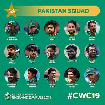 #PAKISTAN  15-member Squad for #CWC-19....