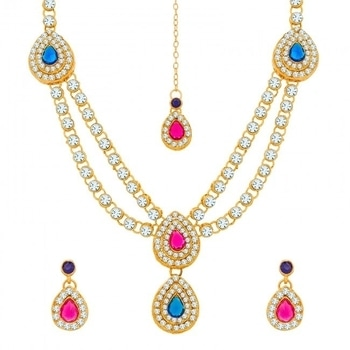 Buy this studded pink & blue necklace set from WedLista.com to get the royal look.  COD Available|Free Shipping| Easy Returns  Shop now: Product Code: NK-1894  Price: Rs. 499.00  #WedLista #FashionForWeddings