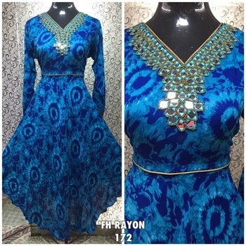 order @ 9479215166 ***** RAYON MIRROR***** Rs. 670 Size : 40 (L) Colours: 4 Lining: No Need Sleeve Type : Long Sleeves  Fabric : Rayon  Pattern : Mirror + Hand Work Occasion : Party / Ethnic Wear Fabric Care : Dry Clean or                         Hand Wash Only Shipping Charges Extra Set Price : 570 per pcs.