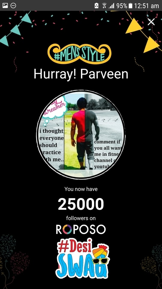 25.2k followers,feeling great...its means we all are on same track of sucess. Thanks alot to choose me...i try to post how i reach here.... #mensstyle #desiswag #fitness