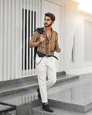 OUTFIT BY - @qarotmen . . Shot by - @snapeturemoments . . #thestyledweller  #TSDFAM #mensstyleinfluencer  #menswearblogger  #mensstyling  #style #styleinspiration  #styleblogger  #menswearinspiration #inspiration #menwithstreetstyle  #hairstyleformen  #hairstyle  #whitetrouser #stripedshirt #summerstyle #mensstyle #mensfashioninspiration  #mensfashion #fashion #ootd #haircut #suratinfluencer #suratfashionblogger  #surat #indianstyleinspiration #indianfashioninfluencer  #india