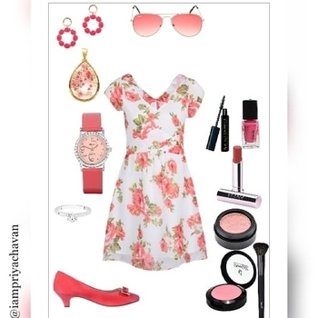 A #beautiful 🌸#spring 🌷#inspired 🌹#collection #fresh 💐and #attractive 🌺#flowery 🍁#dress 👗#pink #stylish #heels 👠#watch ⌚#pinkish #sunglasses 👓#lovely #earrings 👂#pendal 👑#diamond 💎#ring 💍with #makeup 👸#things #lipstick 💄#eyeshadow #mascara 👀#nailpolish 💅#blush ❤A #perfect 👍#look #outfit #clothing #fashionandtread