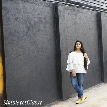 These yellow pom-pom earrings adds so much to a solid white offshoulder top. It changes the entire look of the outfit. Paired the outfit with the same yellow colourblock Oxford Shoes. . . . #simpleyetclassy#hyderabadfashionblogger#indianblogger#roposopic#roposolove#soroposofashion#indian#hyderabadi#roposodaily#ruffletop#offshouldertop#oxfordshoes#veromodaindia#ajio#aarnaaccessories#fashionista#fashionaddict#fashionlover#blogginglove#blogger