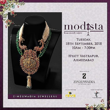 Zinzuwadia Jewellers are an epitome of glamour, grace and handcrafted luxury... Shop for these exquisite pieces of luxury by Zinzuwadia Jewellers At #Modista  18th September, 2018 Hyatt Vastrapur,  Ahmedabad. #zinzuwadia #zinzuwadiajewellers #finejewellery #diamonds #emerald #gold #luxury  #ruby #rings #earrings #destinationwedding #festivewear #fashionexpo #modistadxb #fashion #lifestyle #exhibition #jewellery #jewelry #style #fashionlovers #fashionistas  #indiandesigners #designers #igfashion #igstyle #dubai