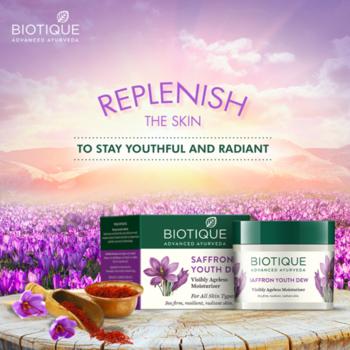 Did you know that dry lines and wrinkles appear when your skin starts losing its moisture? Keep your skin hydrated with Bio Saffron Dew, a youthful nourishing day cream for all skin types. Stay youthful, naturally. #Biotique #FlawlessSkin #PureIngredients