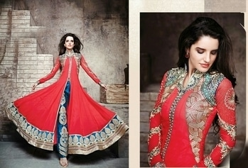 """* NEW DESIGN *  🚏 Zoya 1🚏  Fabric Details :-   👗Top :- Pure fox jorjet                  With same as work                  With diamond                   With  moti diamond                   Semistiched                Embroidery work                     🎁Bottom-santun                      2 mtr       With embroidery work patch   🎁dupatta :- naznin Length up to 52"""" Height 48""""+  🎁PRICE - 1695 Shipping extra  🚏READY TO DISPATCH 🚏  😊*Be happy with quality *😊  09559285742"""