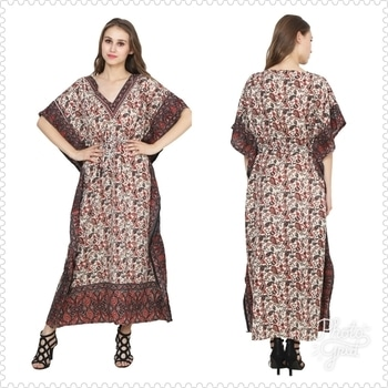 """KAFTAAN With doori belt  Lenth 52"""" Fabric-viscous cotton  Fully Stiched  Free size 36 to 46 Qty-4 Rate - 350 Whats up 8882439532  Ready to wear"""