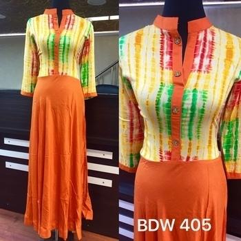BDW 405  Printed Rayon designer Shibori kurties. No side slit. Length 56. Ready size 40 with 4 inches margin. Price 1050+$
