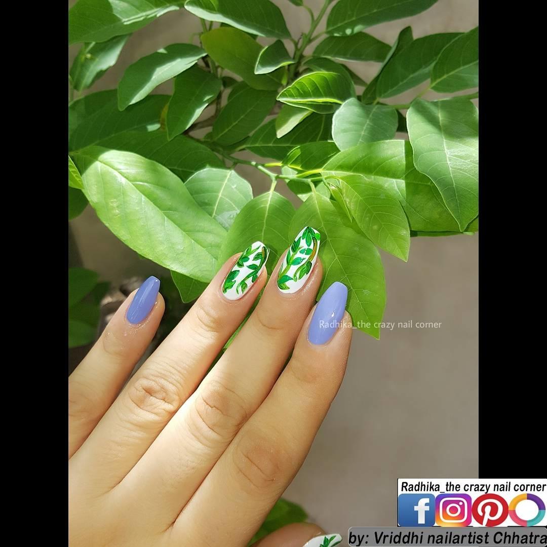 Free Hand Art✍. Leaf Nail Art. 🌿💜🌿💜🌿💜🌿💜🌿💜🌿💜🌿💜🌿 Base for Index+Pinky is Wisteria from @champneysspas 🖌 #nails #nailartwow #nails2inspire #nailartoohlala #nailartfeature #freehand #nailsartcentral #featurednailart #nailfashion #justgoshoot #simplynotlogical #visualsoflife #exploretocreate #artistuniversity #instagoodmyphoto #HairandFashionAddict #nailsofinstagram #artisticdreamerss #arts_help #artworks_feature #weloveyournailart #justartshelp #inkfeature #instagram_rajkot #tigerart #help___artist #leaf #leafnailart #champneys #rtistic_feature Enjoy. 😊 #nailart