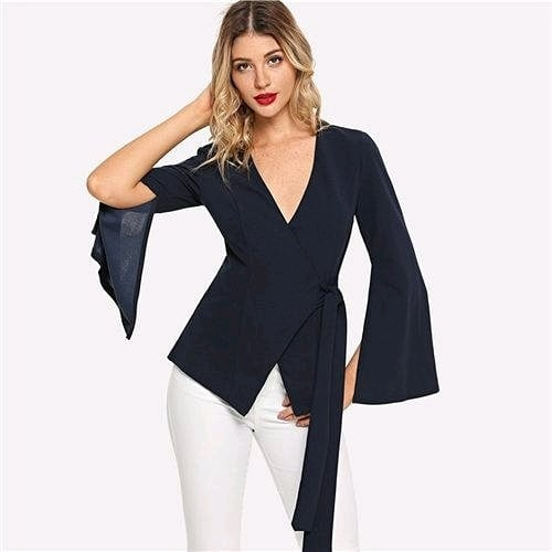 Fresh New Arrivals added to our uber cool collection! Buy this Navy Work V neck Split Sleeve Belted Jacket at just ₹1563/- . | Cash on Delivery with Easy Returns & Exchanges || Up-to 100%* Money Back Guarantee! | Satisfaction Guaranteed | .  #india #trendy #tops #girls #womensfashion #romper #photooftheday #fashion #jumpsuit #vogue #partywear #ootd #dress #topshop #newarrival #party #women #poshgrid #blouses #trending