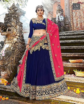 Buy Now @ http://bit.ly/VJV-GRAC1124  Angelic Navy Blue Georgette Designer Lehenga Choli  Fabric- Georgette  Product No 👉  VJV-GRAC1124   @ www.vjvfashions.com