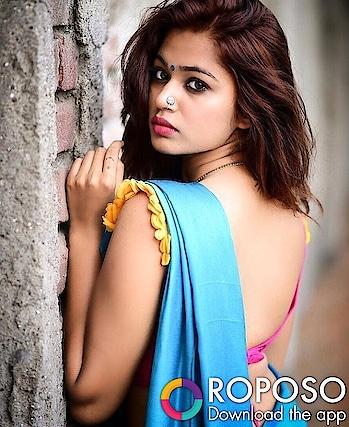 #bindi #nathni #pink #blouse #backless #sexyfigure #bluesaree #sexypose #indianmodel #fashion