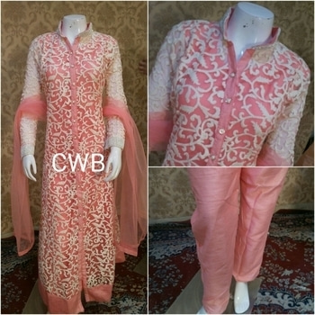 Ready to wear Pakistani dress  Shirt soft net embroided  Inner shantoon  included stitch  Bust 36 aprx.  Bottom pent fit upto 34 waist aprx Dupata soft net  Rs.4090+$ Book now Limited stock  9559147657