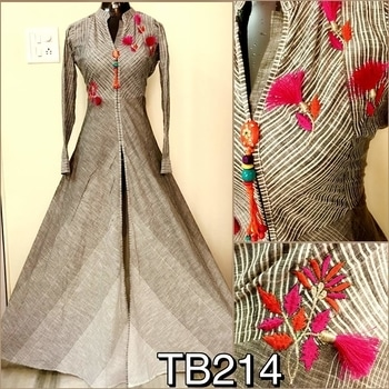 TB214 Pure cotton gown with center slit and tassels  Size : Grey 42 , blue 44 Length : 62 Rs 1750/- plus courier charges