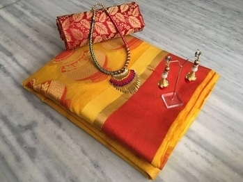 Beautiful Saree -@1299/- INR Only, Fabric details --  Traditional Set 🎀Of Sarees 👑  #TUSSER SAREE DESIGNED WITH SELFWEVING   #STYLE~TRADITIONAL  WITH #JEWLLERY #NACKLES N #BLOUSE JUMKA  Reddiy to ship   🏃🏾🏃🏾🏃🏾🏃🏾🏃🏾🏃🏾🏃🏾🏃🏾 **WHATSAPP ME AT +91 9760614947**
