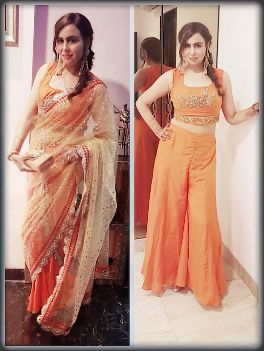 PRE DIWALI BASH 🔥🔥 WHICH LOOK BETTER ...DRAPE SAREE STYLE OR WITHOUT DRAPE? ? #prediwali #diwalicelebrations #festival #indianfestival #sweet #food #masti #crackers #music #dance #games #outfit #drapes #drapeduppata #palazzo #croptop #fashionblogger #indianfashionblogger #mumbaiblogger #style-file #fashionista
