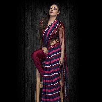 Our striped #trousersaree is all you need this Diwali Styled by @paraskavya_official Catch this striped wonder only a #NITYABAJAJ  www.nityabajaj.com  #conceptsaree #maroon #stripes #tassels #bling #diwali #festive2017 #festive #festivities #cards #diwalicards #cardsscene #conceptsaree #sari #designersaree #saree #designersari #fashion #instafashion #inatalike #stripe #lines #pleats #follow #instafollowers #nityabajaj #labelnityabajaj