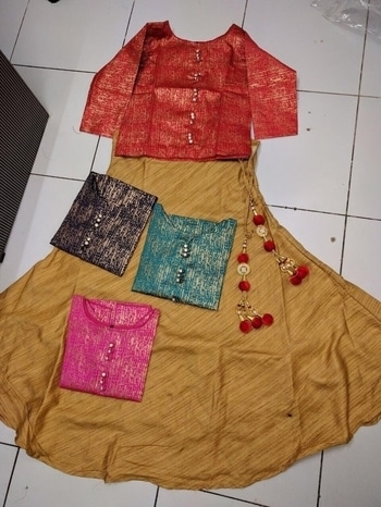 Hi.... Our new design launched          ❤ *HAPPY-1* ❤  ❤MATERIAL :- imported slub  ❤SIZE:- L=40 (full STITCHED)  ❤LEHNGHA:- imported slub reyon   ❤Price:- 1400+$ single     *PREMIUM quality*