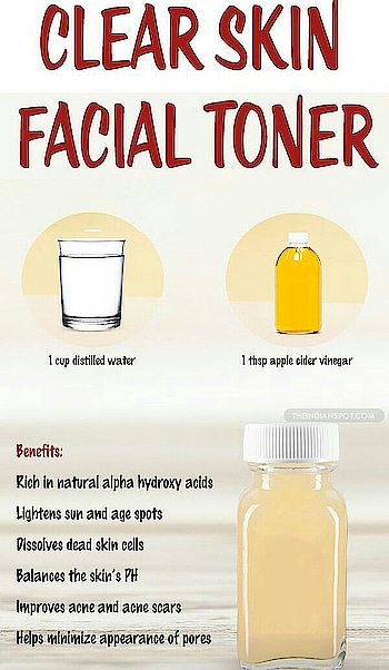 ACV CLEAR SKIN TONER Mix 1 tbsp of Apple Cider Vinegar into 1 cup of distilled water.  Shake the bottle to combine the mixture.  Apply the mixture to your freshly cleansed skin, using a cotton ball or pad, avoiding the eye area. Apply your daily moisturiser after the apple cider vinegar toner has dried.  Shake well before each use. Store in a cool, dry, dark place.   Benefits: ● rich in natural alpha hydroxy acids ● lightens age and sun spots ● dissolve dead skin cells ● balance skin's PH ● improves acne and acne scars ● minimise the appearance of pores  #diy #tipoftheday #beautytips #doityourself #skincare #homeremedies #toner #applecidervinegar #acneproneskin #beyoutiful #beyourself #loveyourself