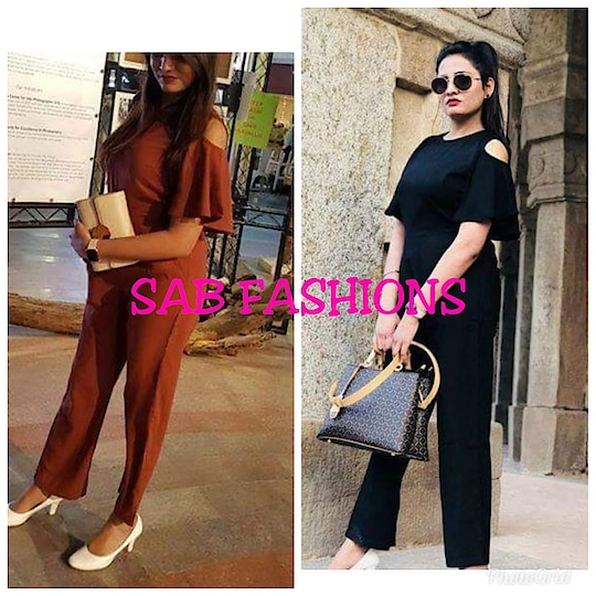 DESIGNER- jumpsuits  TYPE:-FULL STITCHING fabric:-COTTON CREPE Length:-52 size:-32-36,38-42-44-46 colour:-Black n maroon price:-550+$