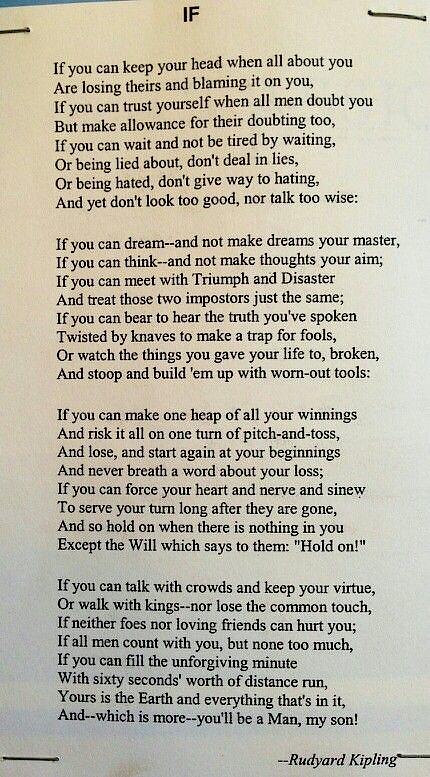 'IF' by Rudyard Kipling 👌