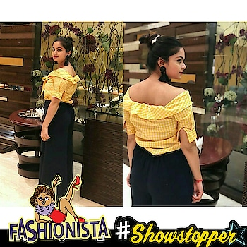 Be a showstopper . about last night .i am wearing this cool combo from yellow #offshoulder from #missamoreclothing and #plaazo from#lifestyle . #doyoulikemystyle. #followmeformorefashionandstyleupdates #styleisaboutyou #missamoreclothing #fashionbloggerindia #fashionbloggerdiaries #celebrations #wow #lookgoodfeelgood #thebazaar #fadhionquotient #rangolichannel #showstopper #fashionista #topnotch