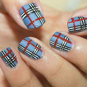 freehand Plaid nailart ! (Matte) . . . . .  #freehandnails #freehand #freehandnailart #plaidnails #plaidnailart #nailart #design #mattenails #nailsofinstagram #nailsoftheday #nailartist #blogger #nailartblogger #follow #followme #lovefornailart #instanailart #bluenails #matte #fashion #fashionblogger #style #nails #shinynails