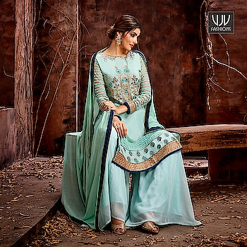 Buy Now @ https://bit.ly/2Zy4kgB  Fab Turquoise Color Georgette Designer Palazzo Suit  Fabric- Georgette  Product No 👉  VJV-MISH5127  @ www.vjvfashions.com