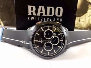 * Rado  * For men * Hritik Model * 7A  * Orginal model * Feature; -Case shape- Round -Band colour-golden and silver  colour -Chrono-Working chronograph, Hi-Tech ceramic scratch resistant  & ETA machinery (7A) -Silicon Rubber strap - Display- Analog -12 hr dial  **Price- Rs 3500/-include shipping** **With Brand box 📦 **