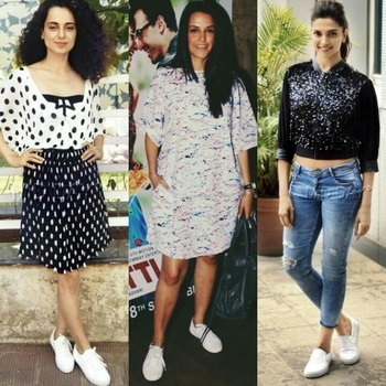 White sneakers are on FLEEK this year...these Bollywood divas are slaying like dope...💙💙💙  #bollywood#bollywoodfashion#fashionistas#fashionmoments#acttesses#glamlife#dolledup#whitesneakers#sneakerswitheverything#whiteisthecolour#thissummer#allaboutsneakers#followformore#roposoaddict#todugaila