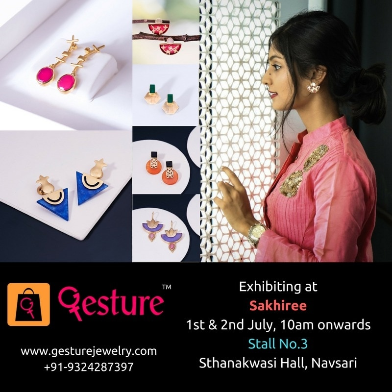 "Gesture Jewelry is coming to Navsari this July!  Catch us at Sakhiree, one of India's finest exhibitions for the women, by the women.  Date: 1st & 2nd July Time: 10am onwards Location: Sthnakwadi Hall City: Navsari  Best-in-class Exclusive Earrings, designed by Indian trend setters to fit your budget. ""The future of high quality and affordable jewellery is here.""  Each beautiful piece is handmade, and studded with real 'semi-precious stones' using modern technology to lower costs.  Visit: www.gesturejewelry.com to experience our beautiful ""Party, Office and Everyday (POE)"" collections, with filters to match your occasion and budget. Online payment with Free Shipping across India, along with flexible ""7 days return policy"".  For enquires, you can call or whatsapp us on +91-9324287397. We will send you samples based on your taste.  Let's celebrate womanhood together! ??  #gesture #jewelry #modern #handmade #jewellery #costume #budgetjewellery #fashion #love #beautiful #girl #beauty #pretty #styles #stylish #love #pretty #girl #girls #design #outfit #shopping #glam #shoppingexploring #womenstyle #present #accessories #shop #shopwithus #stylechallenge #urban #fashionable #trendy #trendsetters #popupshops #exhibitions #getyours #instyle #haute #different #stone #custommade #chic #diva #custom #fashionblogger #mompreneur #accessorize #daretobedifferent #accessory #fashionaddict #details #summer #summeroutfit #fashionista #outfitdetails #makeup #desi #desibride #indiatrend #indianbride #blogger #india #indianjewellery #bridal #wedding #photos #jewellery #model #portfolio #bridalinspiration #antiquejewelry #designer #earrings #designerwear #outfitoftheday #mumbai #casualvibes #fashiondiaries #women-fashion #indian #ropo-love #roposo #soroposo #roposolove"