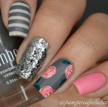 #nailart#silvershine#rosenailart#pinknail#nailpaintlove#nailartaddict#like4like#follow4follow💅💅