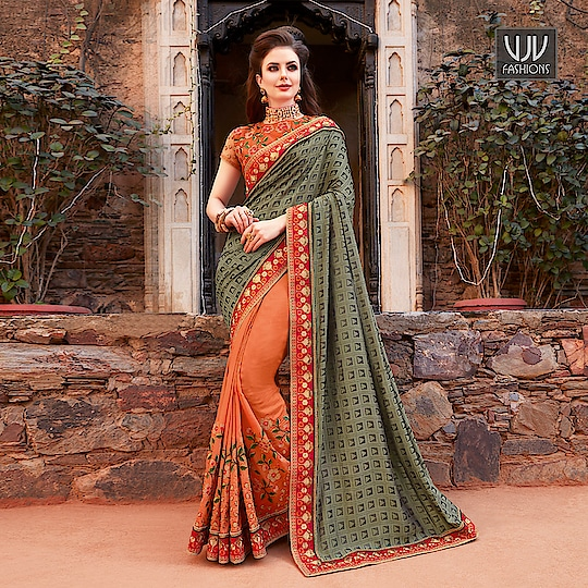 Buy Now @ https://goo.gl/M56f6f  New Grey And Orange Color Half N Half Designer Saree  Fabric- Fancy Fabric  Product No 👉 VJV-AMBI30008  @ www.vjvfashions.com  #saree #sarees #indianwear #indianwedding #fashion #fashions #trends #cultures #india #instagood #weddingwear #designer #ethnics #clothes #glamorous #indian #beautifulsaree #beautiful #lehengasaree #lehenga #indiansaree #vjvfashions #pretty #celebrity #bridal #sari #style #stylish #bollywood #vjvfashions