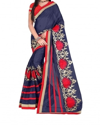 Buy this beautiful blue cotton saree with floral embroidery from Tanya Designer for your colleague's shaadi.  COD Available|Free Shipping| Easy Returns  Shop Now: Product Code: Pari_COTTON1010-495  Price: Rs. 1,099.00  #WedLista #FashionForWeddings