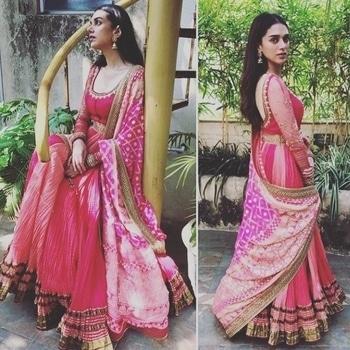 Aditi Rao Hydari in a beautiful pink anarkali by Tarun Tahiliani.. #indianwear #ethnic #ethnicwear #anarkali #pinkdress #taruntahiliani #aditiraohydari