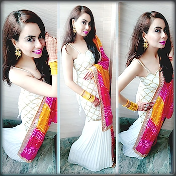 So here is the 5th look... Ubtan and Ghadoli Rituals❤  Before the Big Evening, On few Rituals, I Choose to Wear my favourite Colour White Short Kurti with White Gharara, Carry it with beautiful and Colourful Silk Bandani Dupatta💜  In Accessories,  just a fashion statement earrings from @koovsfashion , Plain Yellow Colour Bangles ,High Heels and  Neon Pink lip Shade.  Thts it and ready to enjoy all the Rituals ✌❤😊 #weddingstyles #rituals #ubtanceremony #ghadoli #dresswhite #whitekurta #whiteshortkurti #whitegharara #ghararapants #ghararalove #bandanidupatta #colourfuldupattas #yellowbangles #fashionearrings #highheelsfetish #neonpinklips #loveforbangles #weddingsaga #loveforwhite😍 #looksforweddings #weddingguestdress #instabloggers #styleblogger