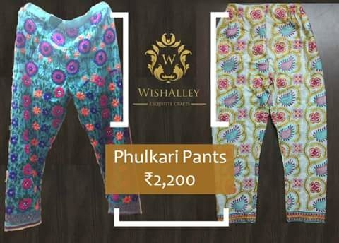 Cotton Phulkari  pants with embroidery from WishAlley #cottonpants #phulkaripants #embroidedpants #ethnicwear