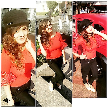 you win some , you lose some✌#redlove ##ropo-love #roposogal #roposo #roposo-makeupandfashiondiaries #thanks to my roposo followers... #roppsodaily ##followforfollow #roposo👍 #ropsofashionblogger #redtop #black-and-red #blackjeans #cap #ropsopic #❤